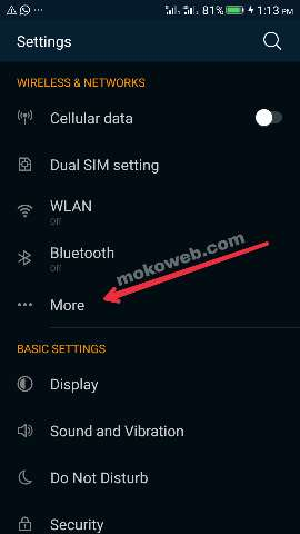 Android phone settings
